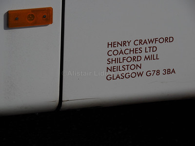 Henry Crawford Coaches, Neilston Van Hool Alizee T9 HCC 974 legal lettering