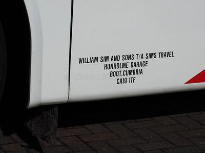 Sim's Travel, Boot, Cumbria Volvo B9R Jonckheere SHV SO12 WHZ new to Parks of Hamilton legal lettering