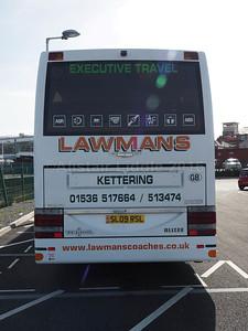 Lawman Coaches, Kettering Volvo B12B Van Hool Alizee T9 SL09 RSL legal lettering