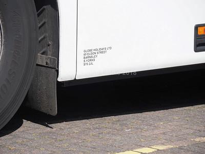 Globe Holidays, Barnsley Volvo B12M Plaxton Paragon YN07 OPG legal lettering