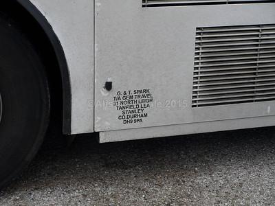 Gem Travel, Stanley Volvo B10M Jonckheere Mistral S596 KJF legal lettering