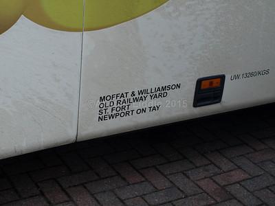 Moffat & Williamson, Newport on Tay Volvo B12B Plaxton Paragon FSU 371 legal lettering