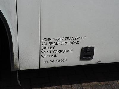 John Rigby Travel, Batley DAF SB3000 Van Hool Alizee T8 JIW 3694 legal lettering