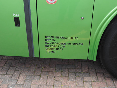 Greenline Coaches, Stourbridge Scania K340EB4 Irizar Century B13 GLC legal lettering