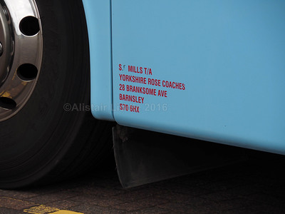 Yorkshire Rose Coaches, Barnsley Van Hool Altano T9 YJ11 GKD legal lettering