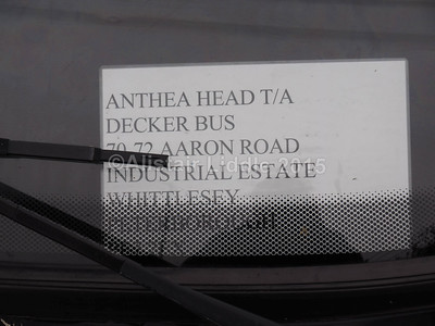 Anthea Head, Decker Bus, Whittlesey Toyota Coaster Caetano Optimo V ECL 938 legal lettering
