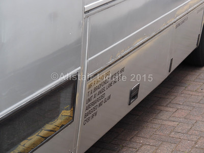 Bradfords of Bargoed Mercedes-Benz Vario Plaxton Beaver 2 Y639 AVV legal lettering