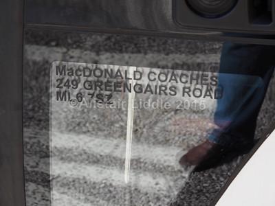 MacDonald Coaches, Motherwell, David Urquhart Travel Temsa Safari HD YJ13 GWC  legal lettering