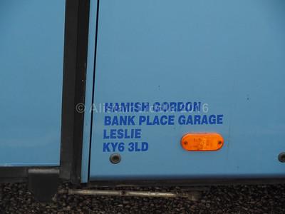 Hamish Gordon, Leslie, Fife Bova Futura T 8OVA legal lettering