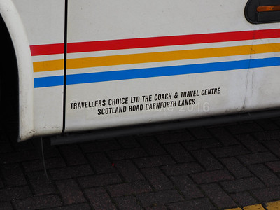 The Travellers Choice, Carnforth Volvo B12B Jonckheere SHV XJF 386 legal lettering