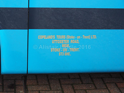 Copeland's, Stoke on Trent DAF SB3000 Van Hool Alizee T9 MIB 293 Lady Patricia III legal lettering