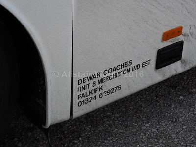 Dewar Coaches, Falkirk Volvo B12M Van Hool Alizee T9  T8 DOF legal lettering