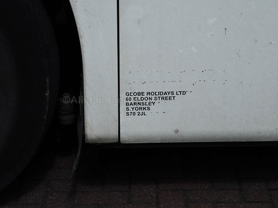 Globe of Barnsley Volvo B9R Plaxton Panther 2 GT11 EBT legal lettering