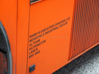 Rigby's, Accrington Volvo B10M Van Hool Alizee T8 TIL 7200 legal lettering