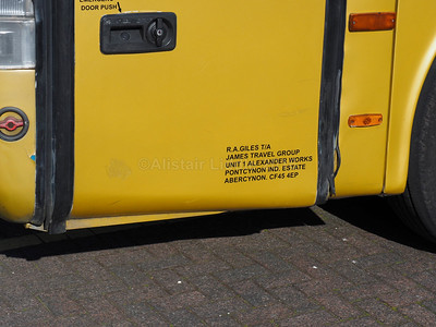 James Travel, Abercynon Volvo B10M Van Hool Alizee T9  T112 JBA legal lettering