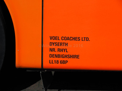 Voel Coaches, Dyserth Van Hool Alizee T9 8214 VC legal lettering