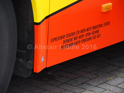 Expressway Coaches, Rotherham, Volvo 9700 B11R BD16 YGE legal lettering