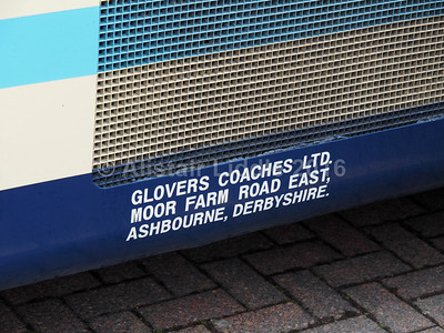 Glovers Coaches, Ashbourne Volvo B10M Plaxton Premier AIG 8358 legal lettering