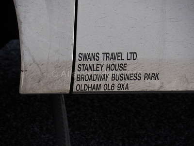 Swans Travel, Oldham Scania Irizar i6 YT65 BYS legal lettering