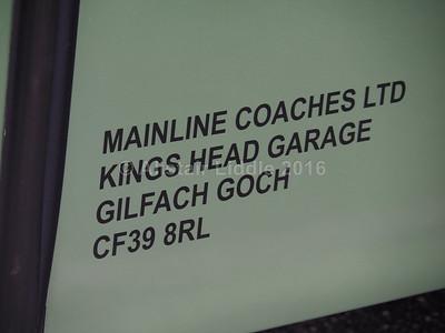 Mainline Coaches, Gilfach Goch Scania K380EB4 Berkhof Axial YN07 EXV legal lettering