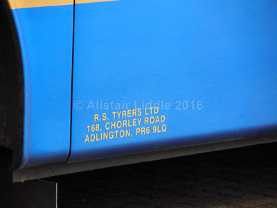 Tyrers, Adlington VDL SB4000 Van Hool Alizee T9 TYR 7R legal lettering