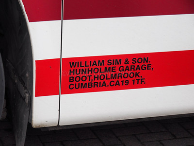 Sim's Travel, Boot, Cumbria Volvo B9R Plaxton Panther 2 YN11 AYL legal lettering