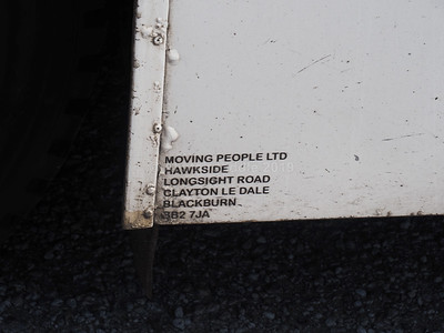 Moving People, Blackburn, Volvo Olympian NC Palatine P577 EFL legal lettering