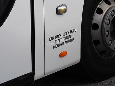 John James Luxury Travel, Dagenham Volvo B9R Plaxton Panther 3 YX14 SFK legal lettering