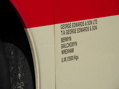 George Edwards & Son, Wrexham Van Hool Alizee T9 YJ04 HHT legal lettering