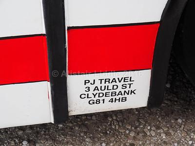 PJ Travel, Clydebank Volvo B10M Jonckheere Mistral S174 SVK legal lettering