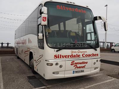 Silverdale Coaches, Motherwell Volvo B12B Plaxton Panther YN59 BNA (1)