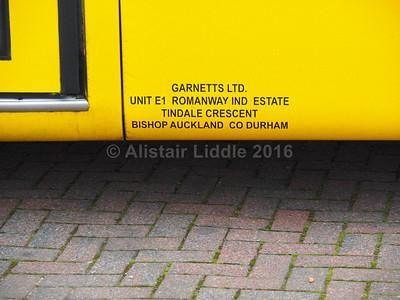 Garnetts, Bishop Auckland Mercedes-Benz Vario Plaxton Cheetah legal lettering
