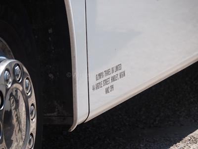 Olympia Travel, Wigan Volvo B11R Jonckheere SHV BU16 UWY Grand UK Holidays livery legal lettering