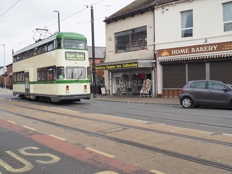 72. Balloon (rebuilt) 718 passing my favourite shop in Fleetwood
