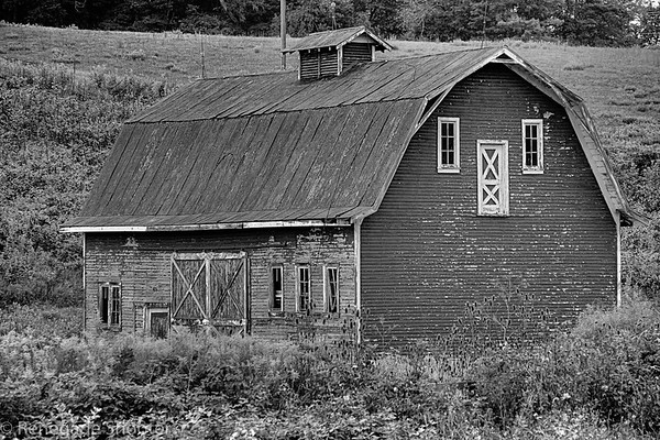 b-w barn double doors side view