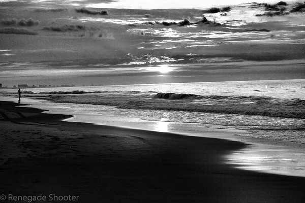 b-w sunset myrtle beach guy fishing
