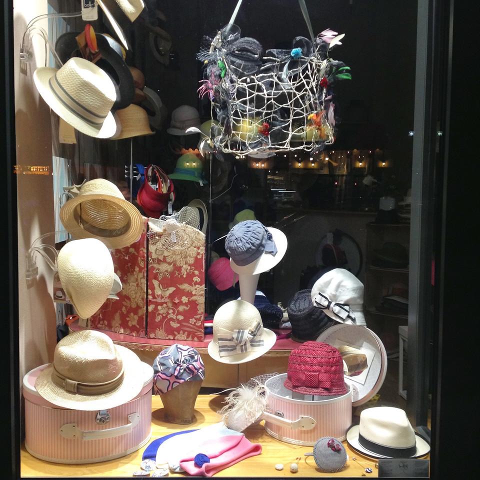 Hats in window on Bergmannstrasse, Berlin