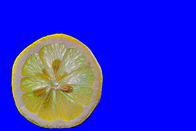 Lemon Slice on Blue