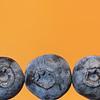 Three Blueberies on Orange