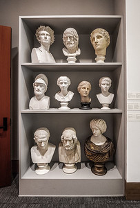Busts on shelves
