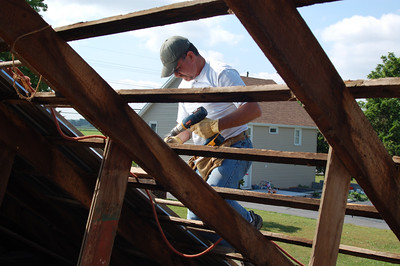 New tin roof for the carriage house, June 2007