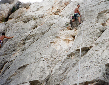 Top rope rock climb area on the mountain above Toulon France... sometime between 1995 & 1998