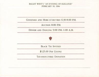 An Evening of Elegance - a fundraiser for Ballet West. Salt Lake City, Utah 10 February 1984