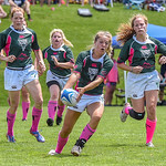 July 23, 2016, Boulder, Colorado, USA; The Boulder Babes, of the Boulder Rugby Club, vs the Steamboat Springs Women's Rugby Club during their game at the 50th Anniversary Celebration of the Boulder Rugby Club.