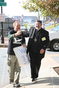 Bishop John Michael Botean and Art Laffin of the Catholic Workers
