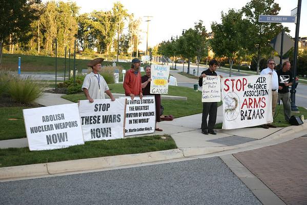 "Protest the Air force Association ""Arms Bazaar"""