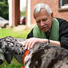 Rev. Bob Johansen blesses therapy dog Fiona at the First Church of Christ, Unitarian on Sunday in Lancaster.  SENTINEL & ENTERPRISE JEFF PORTER