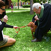 Rev. Bob Johansen (right) blesses dog Tango belonging to Rebecca Pichon of Bolton at the First Church of Christ, Unitarian on Sunday in Lancaster.  SENTINEL & ENTERPRISE JEFF PORTER