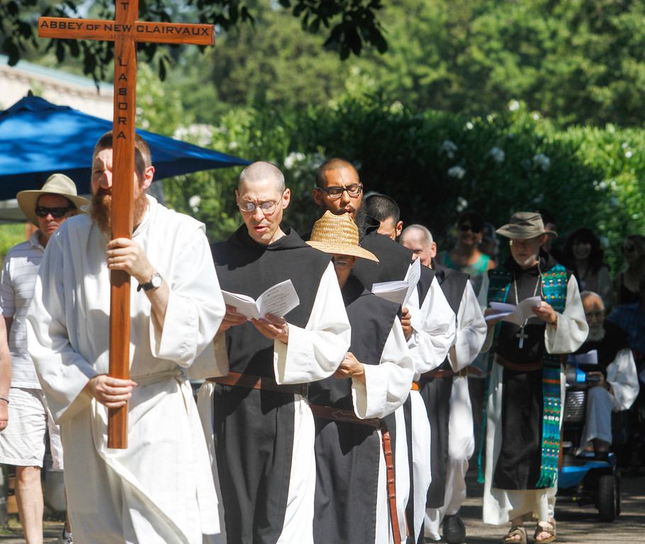 . The monks of New Clairvaux Vineyard  enter the 11th annual Blessing of the Grapes Saturday July 22, 2017 at the New Clairvaux Vineyard in Vina, California.   (Emily Bertolino -- Enterprise-Record)