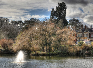 View across the lake at Bletchley Park